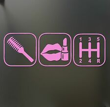 brush makeup shift girl lipstick sticker Funny JDM race car window pink decal