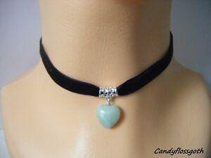 Narrow black velvet Jade heart charm pendant choker * UK made*