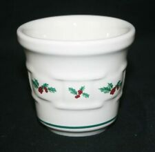 Longaberger Pottery Woven Traditions Christmas Holly Votive Cup