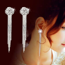 Women Crystal Ear Stud Dangle Ear Clip Earrings Long Tassel Jewelry Lover Gift