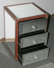 Mirrored Venetian 3 Drawer Bedside Cabinet Leather Trims New