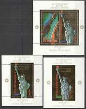 NW0128 IMPERF,PERF GUINEA ECUATORIAL GOLD STATUE OF LIBERTY !!! 1KB+2BL MH