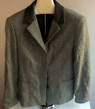 ESCADA SPORT 2 Pc Wool Blend Pant Suit Green with Brown Leather Trim SZ 36 Italy