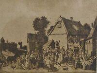 """Raffaele SPINELLI (19.Jahrhundert) antike Radierung:  """"Fest am Hof"""""""