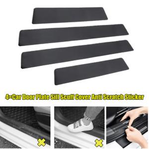 4×Carbon Fiber Car Door Plate Sill Scuff Cover Anti Scratch Stickers Universal