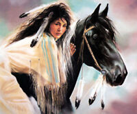 CHENPAT720 hand minority girl portrait&horse animal oil painting art on canvas