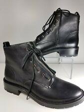 Rag & Bone women boots Combat Black leather zipper shoelace 40 US 10