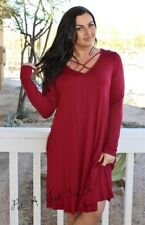 PLUS SIZE LITTLE BLACK BURGUNDY CRISSCROSS X BOHO POCKETS DRESS 1X 2X 3X USA
