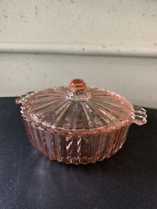 """Pink Depression Glass Candy Dish Covered Bowl Ribbed 6"""" Vintage"""