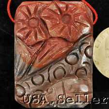 46x33x11mm Natural RED CREEK JASPER Carved Morning Glory Pendant Free Shipping