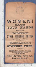 9404 Stovene Wood Stove Polish Mitten 1895 bag Portsmouth NH woman's work black