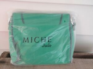 MICHE Jude Hip Bag Crossbody Purse W/Removable Strap Green with Navy Trim