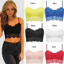 Womens Ladies Sexy Lace Crochet Bralette Bra Cami Vest Crop Top Bralet Bustier