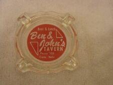 BEN & JOHN'S TAVERN GLASS CIGARETTE ASHTRAY CRETE NEBRASKA PHONE 508 OLDER