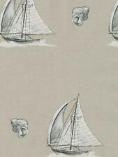 Wallpaper Nautical Sailboats and Seashells on Faux Linen Background