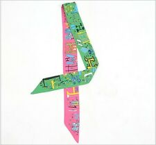 2scarves lady twilly ribbon tied the bag handle H letters Ribbon scarf S401-S407