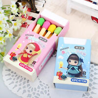 EG_ Creative 8 Pcs/set Match Rubber Pencil Eraser School Stationary Kids Gift He