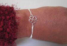 925 Silber Glück Klee Blatt Armband 2 cm breit 18 cm lang Venezian Kette ANGEBOT