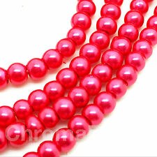 3mm Glass Faux Pearls strand - Hot Pink (230+ beads) jewellery making, craft