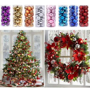 4/6/8cm Luxury Shatterproof Baubles Christmas Tree Hanging Ornaments Xmas Decor