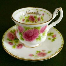"Miniatura Royal Albert flor del mes ""noviembre"" Taza y platillo de porcelana china."