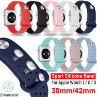 Soft Silicone Adjustable Watch Band Bracelet Wrist Strap for Apple Watch 1 2 3