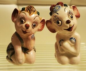 Vintage Anthropomorphic Pink Cow Salt And Pepper Shakers  - Japan