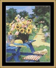 Summer Hobby Sunflowers On A Garden Table Cross Stitch Chart Pattern
