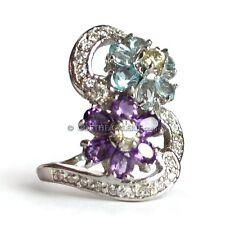 RING 925 Silber BLAUTOPAZ Amethyst gelber Zirkon Cocktailring exquisit & frisch