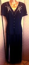 JACQUES VERT black embroidery jacket or blouse 10 skirt 12 outfit suit NEW
