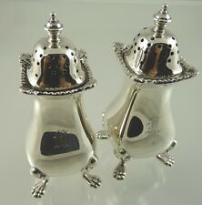 PLAIN w GADROON & SHELL BORDER PAW FEET SALT & PEPPER  1961 BIRKS STERLING
