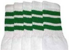 """30"""" OVER THE KNEE WHITE tube socks with GREEN stripes style 1 (30-8)"""
