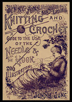 Jenny June c.1885 Huge Pattern Book of Victorian Knitting Crochet & Macramé