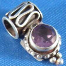 Faceted Purple Amethyst .925 Sterling Silver Pendant Nepal Spacer Bead Artisan