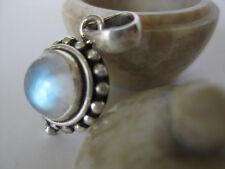 Rainbow Moonstone Silver Pendant ~ Small gem, big light