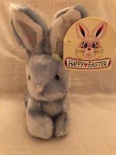 Adorable Blue plush stuffed soft RABBIT Bunny SKM Toys blue bow Happy Easter Tag