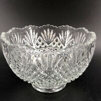 """Vintage Pressed Clear Glass Bowl Scalloped Edge Design Home Decor Footed 3"""" X 5"""""""