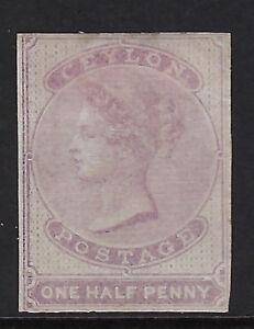 CEYLON : 1858 1/2d dull mauve  IMPERFORATE SG 17 unused, no gum