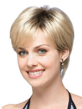 100% Echthaar Perücke Neu Sexy Dame Kurz Hell Blond Natürliche Haar-Perücken Wig