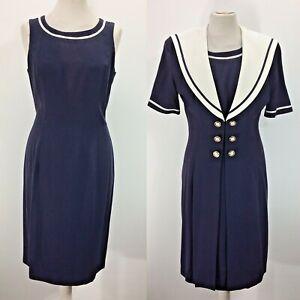 Joseph Ribkoff Dress Set Navy Sailor 10 UK Jacket Short Sleeve Creations Evening