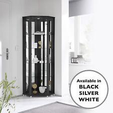 Glass Corner Display Cabinet Home Range in White Black or Silver - UK Stock