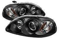 Honda Civic (1996-1999) Black Halo Angel Eye Projector Front Headlights Lights