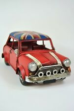 Mini Vintage style Antiqued Metal Red British with Union Jack Roof Car