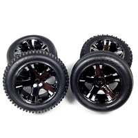 Traxxas Rustler Wheels Front & Rear Black Chrome AllStar Tires VXL XL5 3770 3771