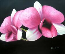 Two Red Giant Orchids, Quality Hand Painted Oil Painting. Beautiful! 20x24in