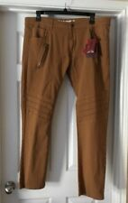 RETRO DISTRIKT Brown jeans Pants Stretch Zippers Mens size 43 x 32.5 NEW
