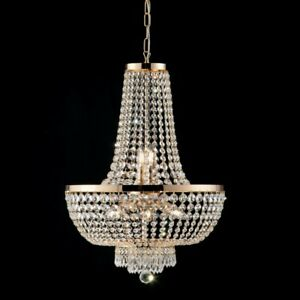 Suspended Lights Modern Design With Crystal Clear Gold.