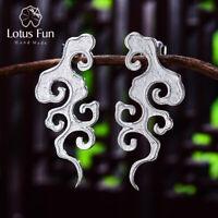 Vintage Solid 925 Sterling Silver Jewelry Sunset Cloud Drop Earrings for Women