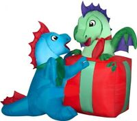 CHRISTMAS 5 FT BABY DRAGONS WITH PRESENT SANTA AIRBLOWN INFLATABLE YARD GEMMY