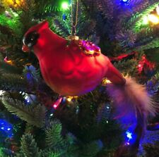 """Beautiful 8"""" Large Red Cardinal Mercury Glass Ornament with Tail Feathers"""
